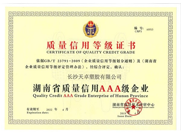 质量信用等级AAA证书