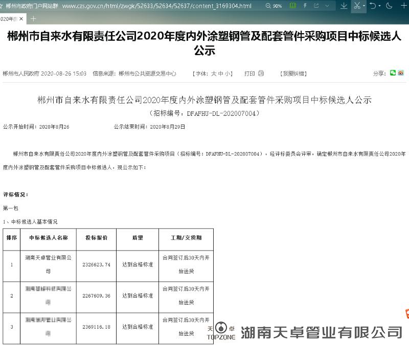 郴州市自来水公司2020年度内外涂塑钢管及配套管件